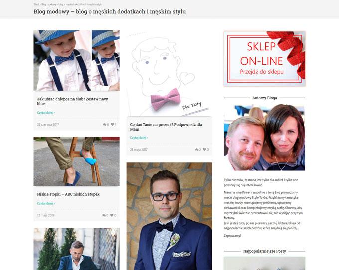 Sklep internetowy StyleToGo, screen strony głównej bloga