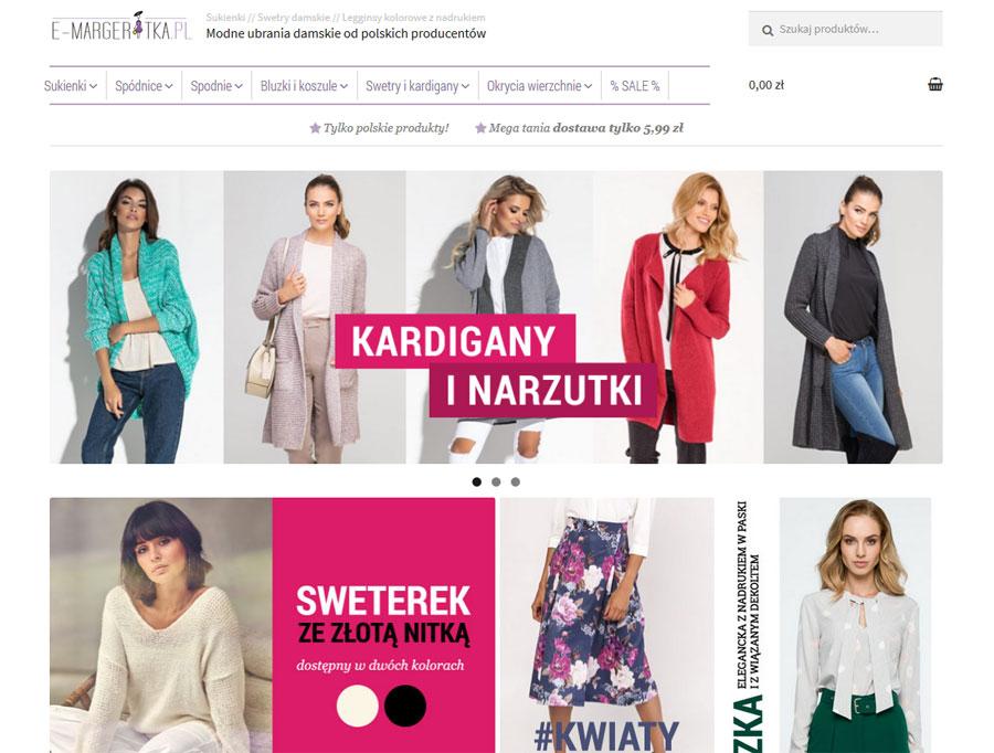 E-margeritka, sklep online zodzieżą damską, screen strony głównej